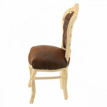Baroque style Dining Room chair, Beige wood Frame with Brown Faux Suede cushions – image 3
