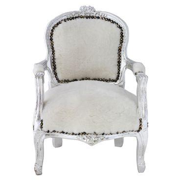 Classy Armchair for Kids White Velvet Silver Hand Carved Real Wood Frame – image 1