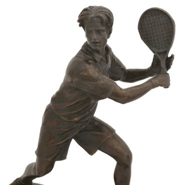 Tennis players sports figure bronze sculpture marble base cup Repro Gift – image 5