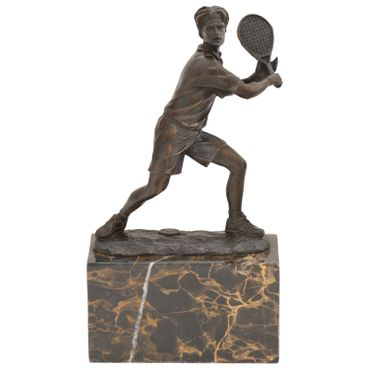 Tennis players sports figure bronze sculpture marble base cup Repro Gift – image 1