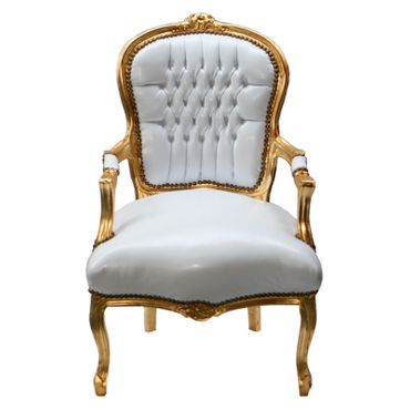 Accent Chair BONI - white synthetic leather and golden frame – image 2