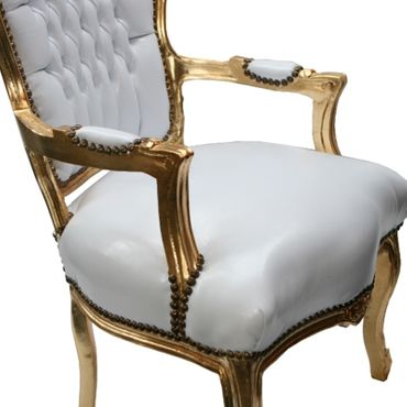 Accent Chair BONI - white synthetic leather and golden frame – image 5