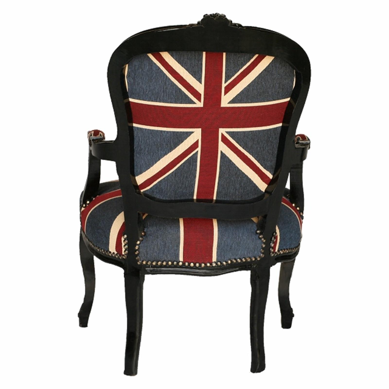 fahne von england union jack barock stuhl sessel in schwarz lounge m bel uk flag ebay. Black Bedroom Furniture Sets. Home Design Ideas
