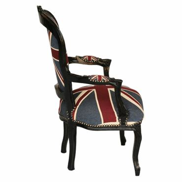 Armchair Flag Design Baroque Living Room Furniture Black Wood Frame – image 2