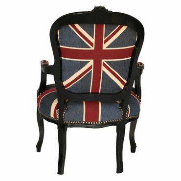 Armchair Flag Design Baroque Living Room Furniture Black Wood Frame – image 3