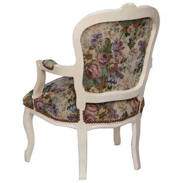 Antiker Stuhl mit weißem Massivholzrahmen und rosenbedruckter hochwertiger Polsterung – Bild 4