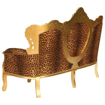 Baroque Style Living Room Sofa Gold Wood Frame Leopard Print Cushions – image 3