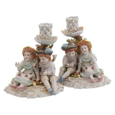 2 pairs porcelain candle holder figure 2 piece set tree – image 1