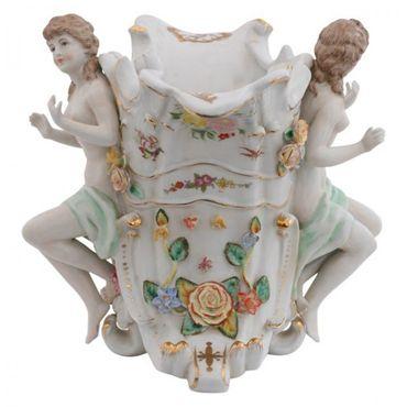 2 piece set porcelain angel figure small shell  golden frame  – image 3