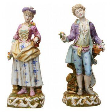 2 piece set porcelain figure baroque rokoko man wife collector – image 2