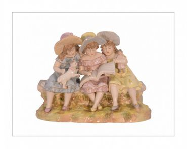 3 girls porcelain friends sitting on bench present decoration accessory wall hand painted