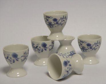 6 piece egg cup porcelain flowers blue hand painted set egg