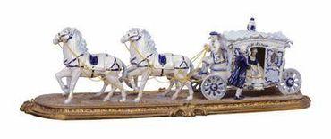 Antique baroque design porcelain group carriage horse white blue gold