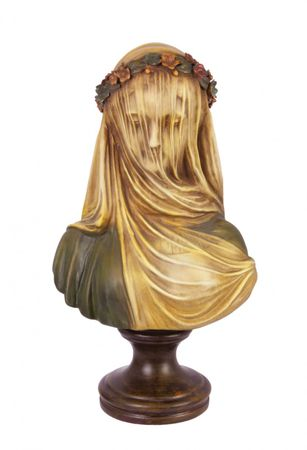 Bust terracotta women hand painted flower sculpture