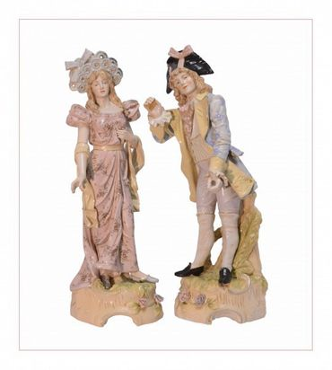 Big porcelain figure couple man and wife decortion magnificent hand painted