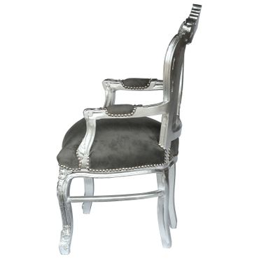 Noble chair in dark grey fabric with silver-leafed wooden frame – image 3