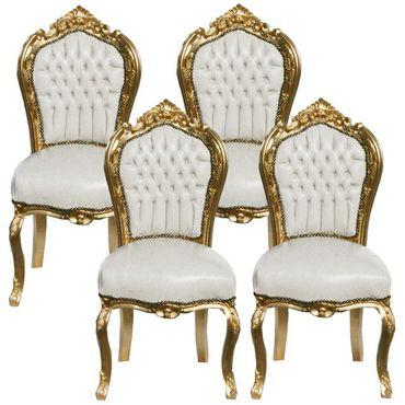 Elegant Furniture Set 4 Baroque Dining Room Chair White Leatherette Gold Wood Frame – image 1