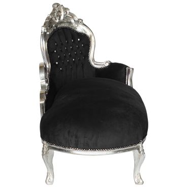 Beautiful Black Velvet Chaise-Longue Incrusted with Rhinestones Hand Crafted Frame – image 2