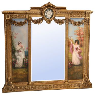 Mirror Baroque Baroque painting monumental cheval mirror roses application White – image 1