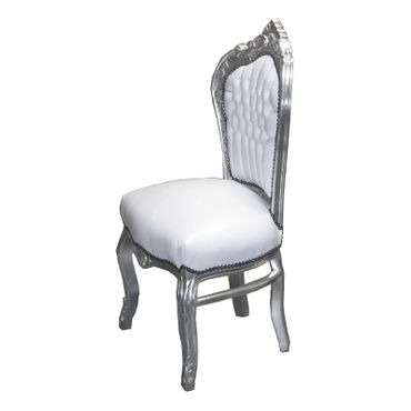 Baroque Design Dining Roo Set White Table + 6 Chairs White Leatherette Silver Wood – image 4