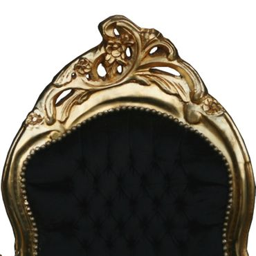 Magnificent Chaise-Longue Baroque Design Black Velvet Gold Solid Wood Frame – image 4