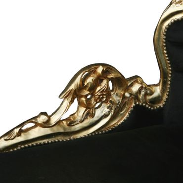 Magnificent Chaise-Longue Baroque Design Black Velvet Gold Solid Wood Frame – image 5