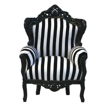 Black TV chair throne retro furniture black/white antique-white frame eye catcher – image 1