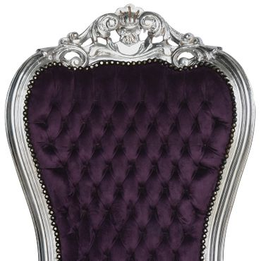 Imperial High Splat Throne Armchair Purple Velvet Silver Solid Wood Frame – image 5