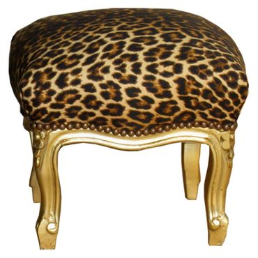 Childrens Stool Baroque style, gold-leafed, Safari print