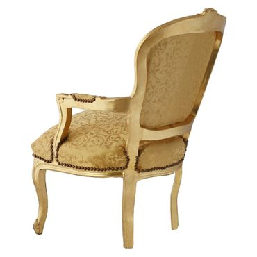 Bedroom chair in gold with lovely floral pattern, gold-leafed wood frame – image 4