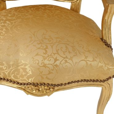 Bedroom chair in gold with lovely floral pattern, gold-leafed wood frame – image 5