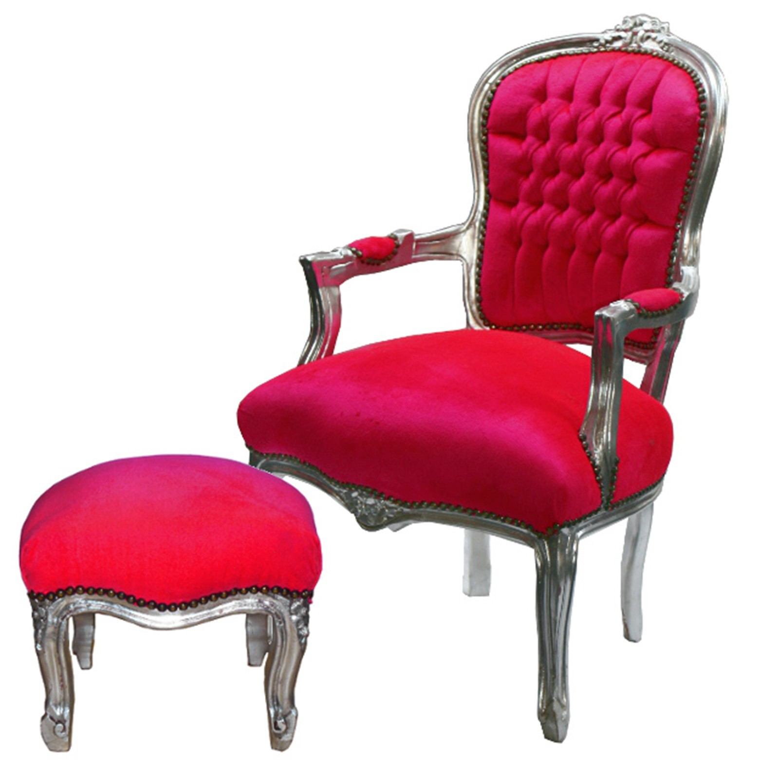 lounge chair barockstuhl pink versilbert sparset hocker sessel pink silber. Black Bedroom Furniture Sets. Home Design Ideas