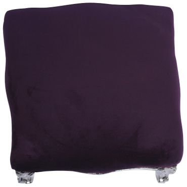 Foot Stool Baroque style, silver-leafed, purple french – image 3