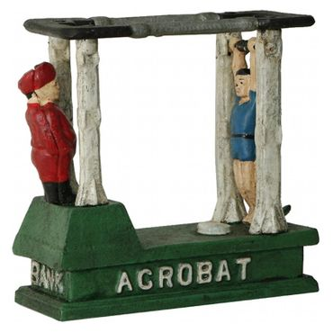 2 Acrobats Moneybox Toy Moveable Iron Sport Decoration