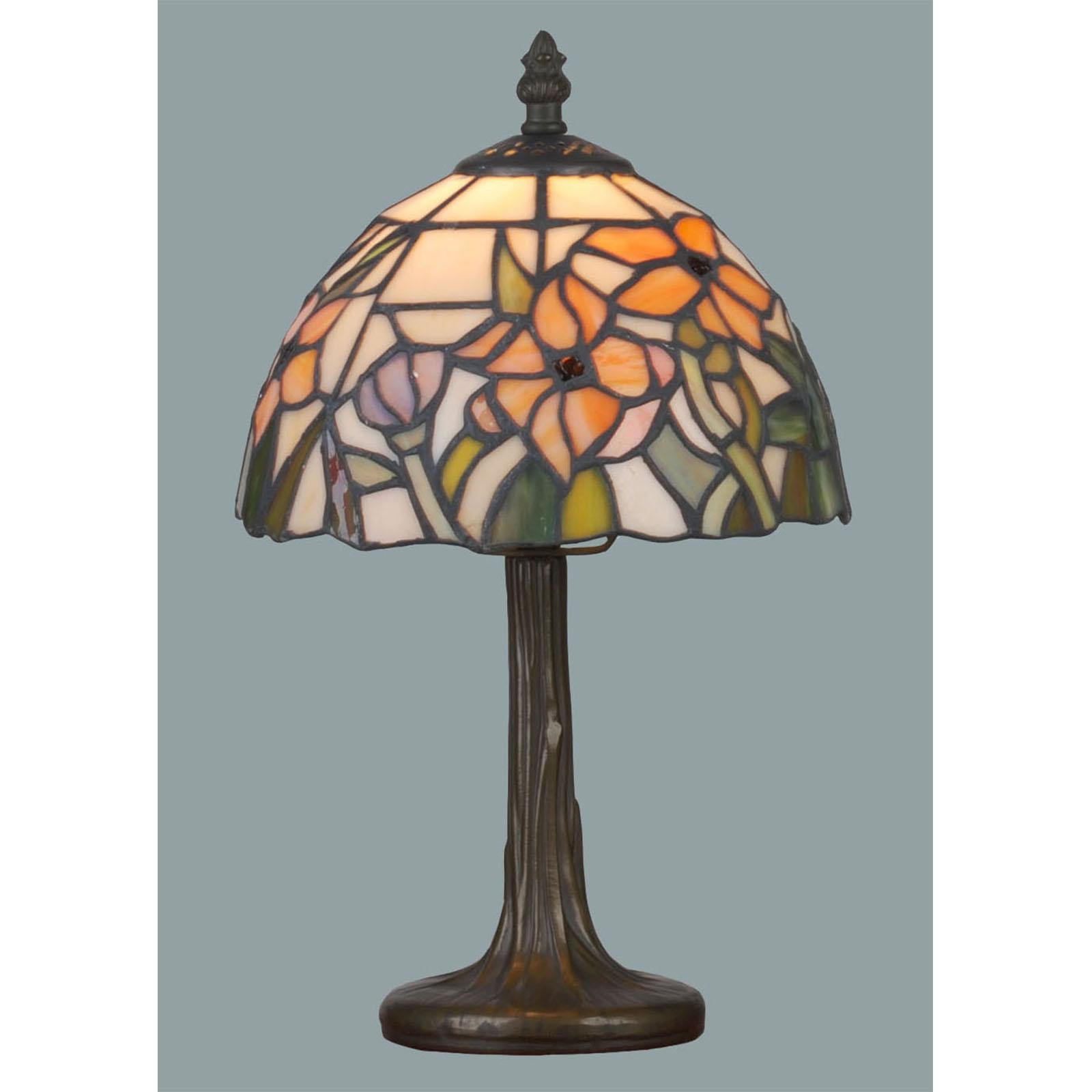 kleine tiffany lampe lilie mit blumen in orange gr n. Black Bedroom Furniture Sets. Home Design Ideas