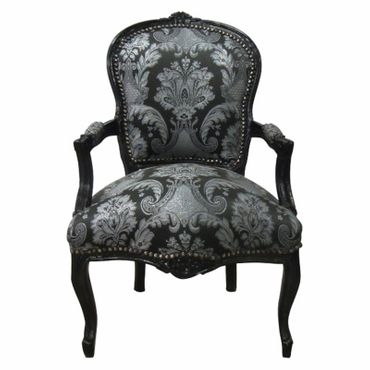 Antique replica Bedroom chair Flower print French Louis XIV 14 black  – image 1