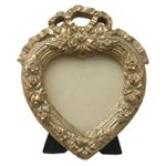 Heart shaped picture frame antique look ribbon 001