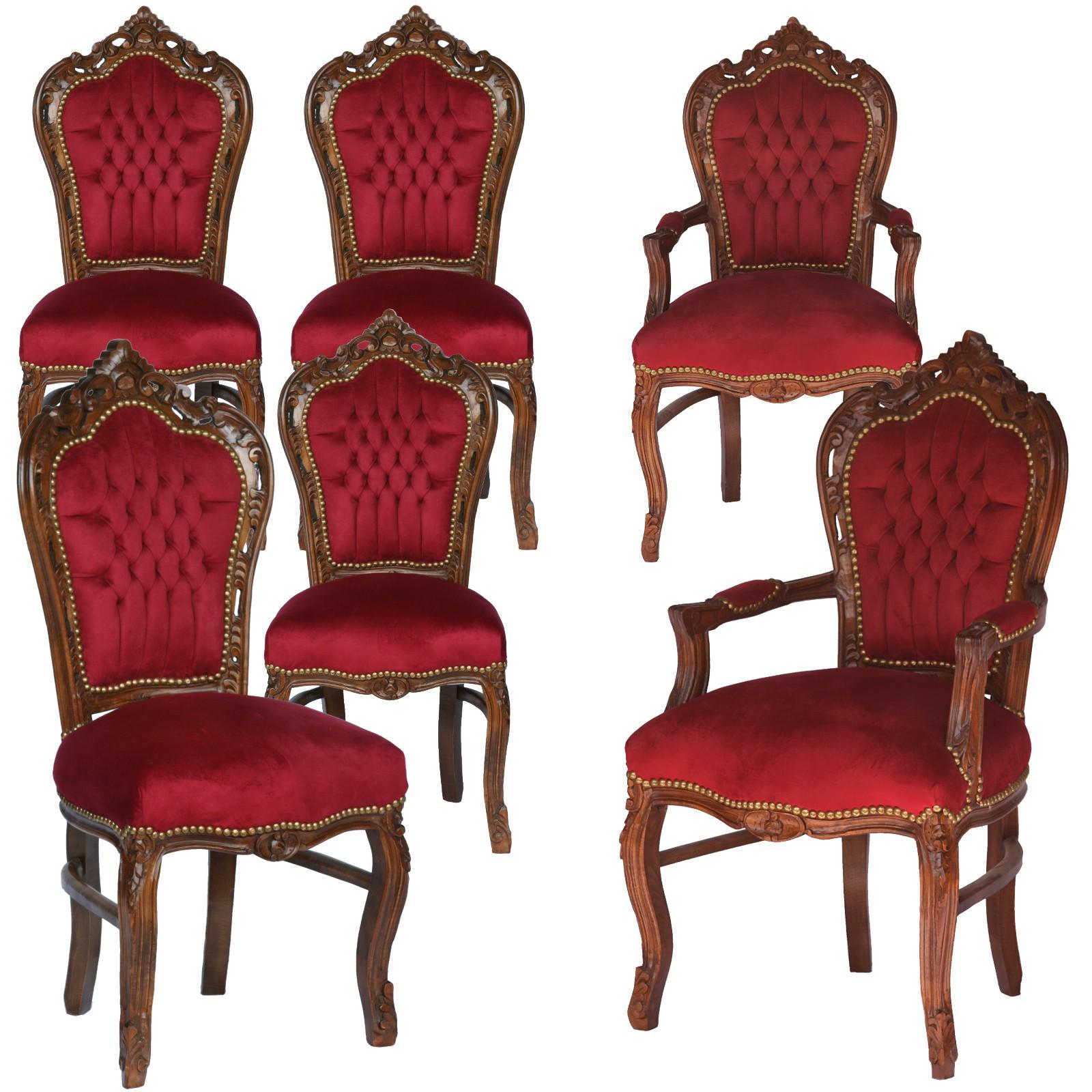 Sitzgruppe Holz Esszimmer Küche Barockmöbel 6er Set Stühle rot gold ...