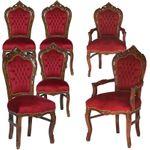 Sitzgruppe Holz Esszimmer Küche Barockmöbel 6er Set Stühle rot gold SONDERPREIS 001