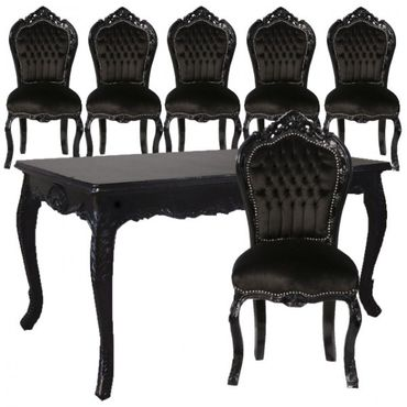 Black Unique Set of Dining Room Chairs and Table – image 1
