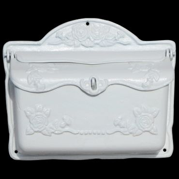 Shiny white mailbox roses antique laquered cast iron letter box – image 1