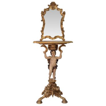 Mirror console Baroque Vintage gold with angels and antique ornaments – image 1