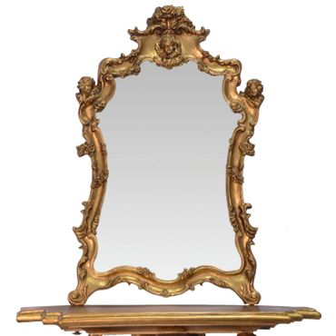 Mirror console Baroque Vintage gold with angels and antique ornaments – image 2