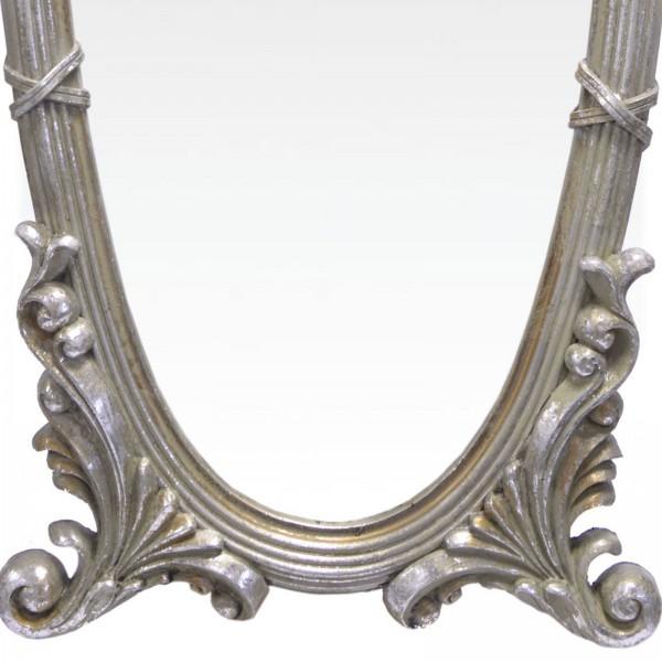 ovaler wandspiegel barock antik silberfarben nostalgie stil mit blatt ornamenten. Black Bedroom Furniture Sets. Home Design Ideas