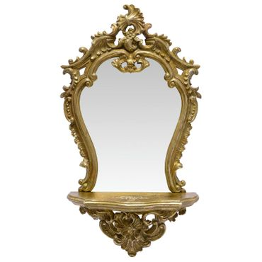 Beautiful Mirror with Shelf Vanity Gold Frame for Bathroom or Bedroom – image 1