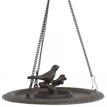 Bird table as birdbath made of iron cast for hanging in balcony terrace or garden – image 2