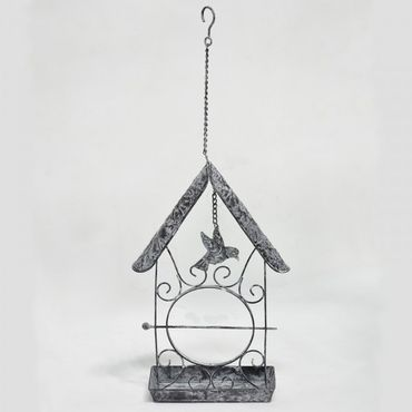 Bird feeder in grey and white as hanging feeding place with a skewer fruit holder – image 1