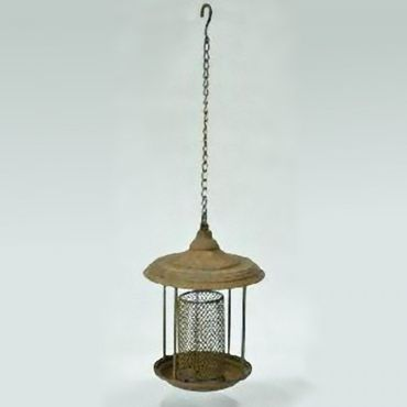 Aviary bird feeding station Station with metal chain hanging from roof with antique style