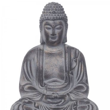Buddha on lotus flower Feng Shui meditating as decoration figure made of stone cast for terrace or balcony – image 2