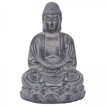 Buddha on lotus flower Feng Shui meditating as decoration figure made of stone cast for terrace or balcony – image 1